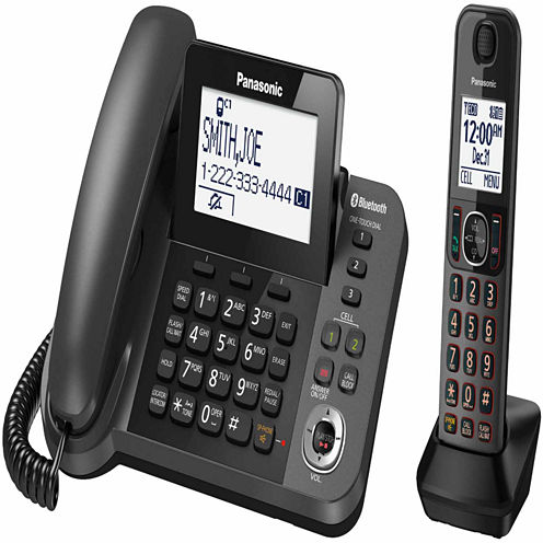 Panasonic KX-TGF380M Link2Cell DECT 6.0 Bluetooth Corded Phone with 1 Cordless Handset & Answering Machine - Metallic Black