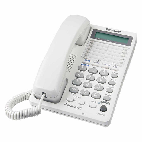 Panasonic KX-TS208WH 2-Line Integrated Phone System with LCD Display - White