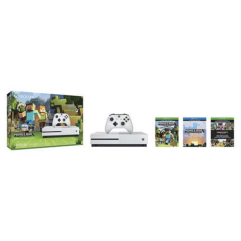 Microsoft - Xbox One S 500GB Minecraft Favorites Console Bundle - Robot White