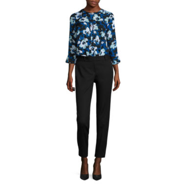 jcpenney.com | Liz Claiborne 3/4 Sleeve Button Front Blouse and Emma Ankle Pant