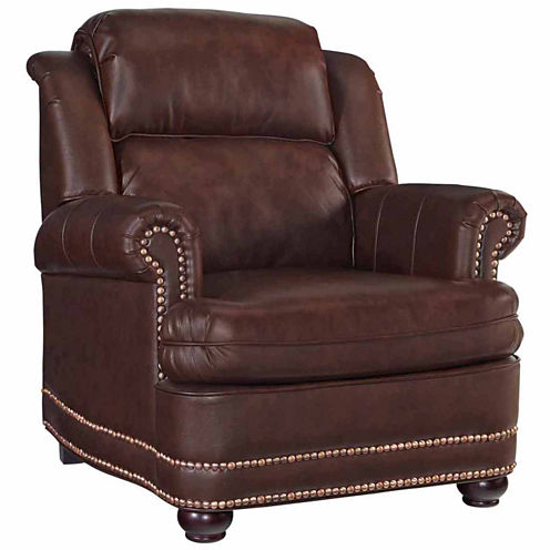 Beau Chair Faux Leather Roll-Arm Chair