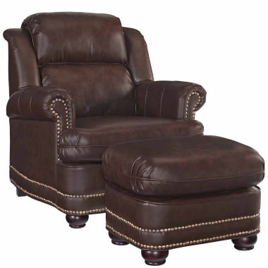jcpenney.com | Beau Chair Ottoman Faux Leather Roll-Arm Chair
