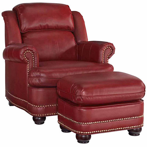 Winston Chair Ottoman Faux Leather Roll-Arm Chair