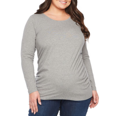 6d87028ca4d95 Belle & Sky Maternity Long Sleeve Scoop Tee - Plus - JCPenney