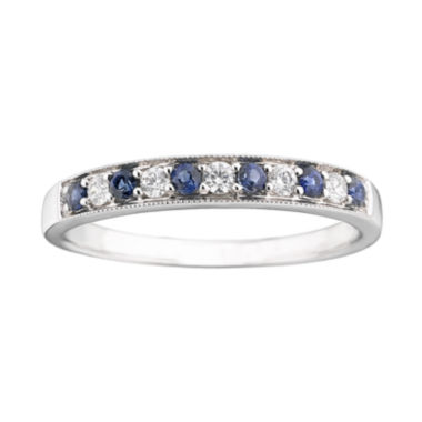 jcpenney.com | I Said Yes™ 1/8 CT. T.W. Certified Diamond & Sapphire Milgrain Band