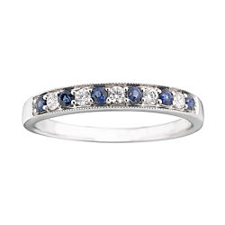 I Said Yes™ 1/8 CT. T.W. Diamond & Sapphire Milgrain Band