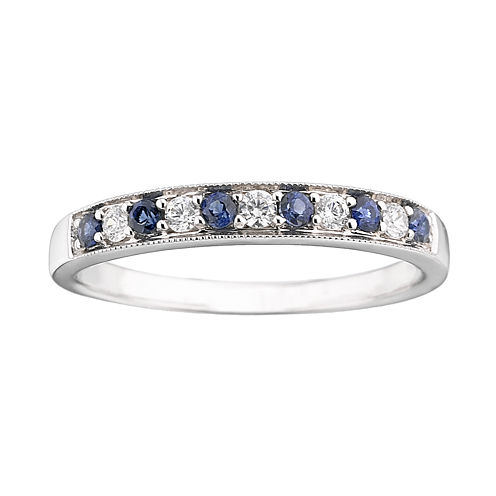 I Said Yes™ 1/8 CT. T.W. Certified Diamond & Sapphire Milgrain Band