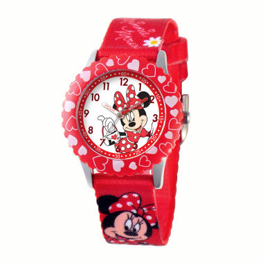 jcpenney.com | Disney Minnie Mouse Kids Time Teacher Red Hearts Strap Watch