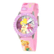 Disney Tinker Bell Kids Time Teacher Pink Stars Strap Watch
