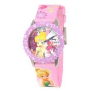 Disney Tinker Bell Kids Time Teacher Pink Stars Strap Watch