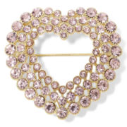 Monet® Gold-Tone & Pink Crystal Open-Design Heart Pin in Box