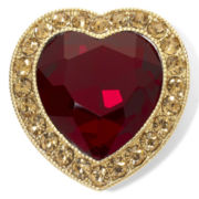 Monet® Gold-Tone & Red Crystal Open-Design Heart Pin in Box