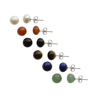 jcpenney.com | Genuine Gemstone & Cultured Freshwater Pearl Stud 6-pr. Earring Set
