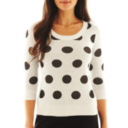 Worthington® Long-Sleeve Dot Sweater - Petite