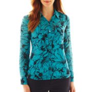 Liz Claiborne Long-Sleeve Print Blouse with Cami - Talls