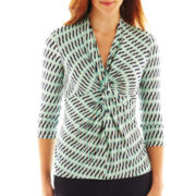 Liz Claiborne 3/4-Sleeve Twist Knot Top - Tall