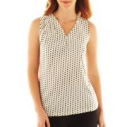 Liz Claiborne Shirred High-Neck Tank Top - Talls