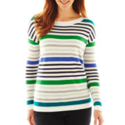 Liz Claiborne Long-Sleeve Ballet-Neck Striped Sweater