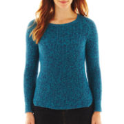 Liz Claiborne Long-Sleeve Marled High-Low Sweater