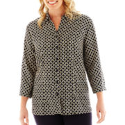 Cabin Creek® 3/4-Sleeve Print Blouse
