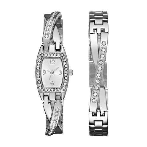 Geneva Womens Silver-Tone Bangle Watch Boxed Set
