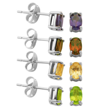 jcpenney.com | Sparkle Allure 4-pc. 3 CT. T.W. Multi Color Multi Stone Silver Over Brass Earring Sets