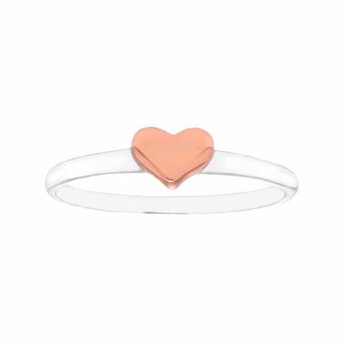 jcpenney.com | Itsy Bitsy Womens Sterling Silver Silver Rose Gold Flash Heart Ring