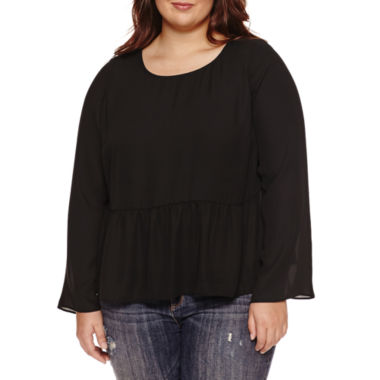 jcpenney.com | Decree Long Sleeve Round Neck Blouse-Juniors Plus