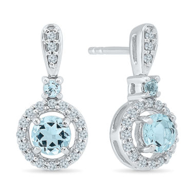 jcpenney.com | 1/4 CT. T.W. Blue Aquamarine Sterling Silver Drop Earrings