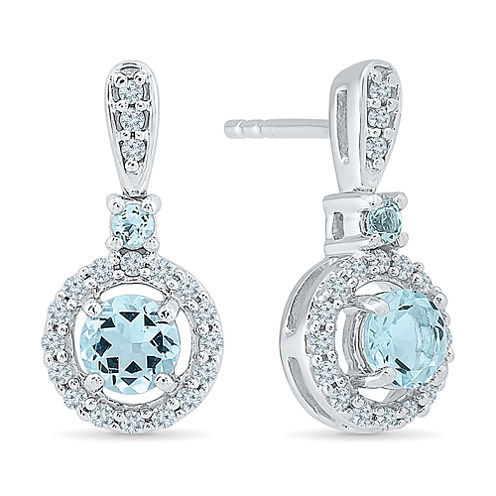 1/4 CT. T.W. Blue Aquamarine Sterling Silver Drop Earrings