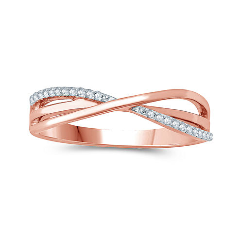 Womens Diamond Accent White Diamond Accent 10K Gold Crossover Ring