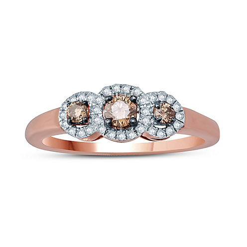 Womens 1/3 CT. T.W. White Diamond 10K Gold 3-Stone Ring