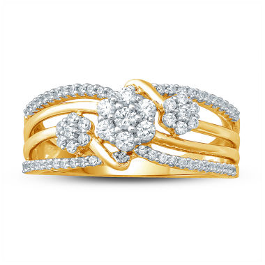 jcpenney.com | Womens 1/2 CT. T.W. White Diamond 10K Gold Cluster Ring