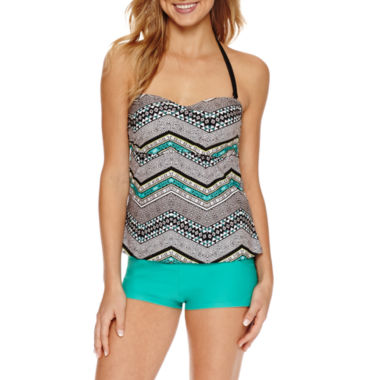 jcpenney.com | Aqua Couture Molded Tankini or Solid Swim Shorts