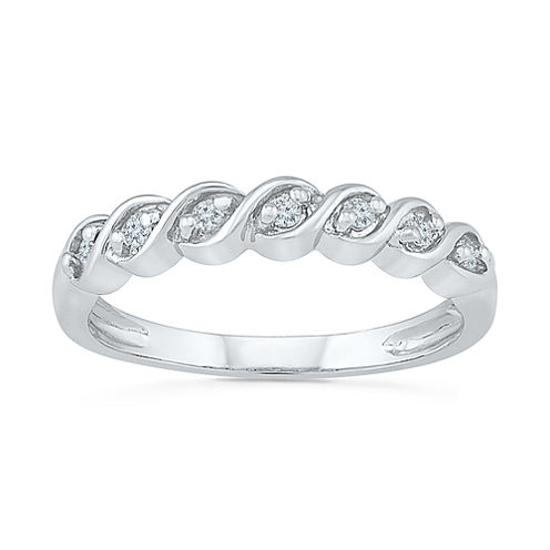 Womens 1/6 CT. T.W. White Diamond Sterling Silver Band