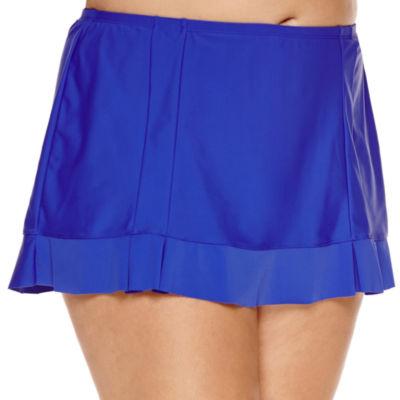 Aqua Couture Solid Swim Skirt-Plus