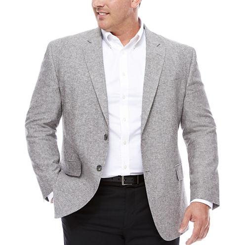 Stafford Linen Cotton Grey Sport Coat- Big and Tall