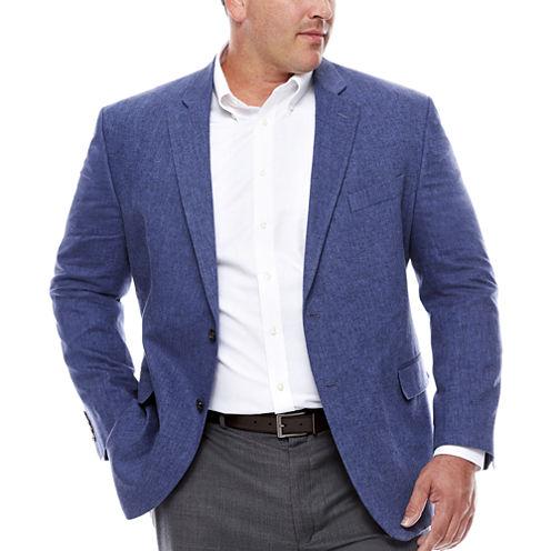 Stafford Linen Cotton Blue Herringbone Sport Coat- Big and Tall