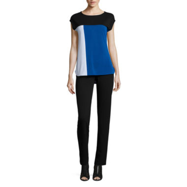 jcpenney.com | Liz Claiborne Short Sleeve Colorblock T-Shirt and Ponte Tapered Ankle Pant