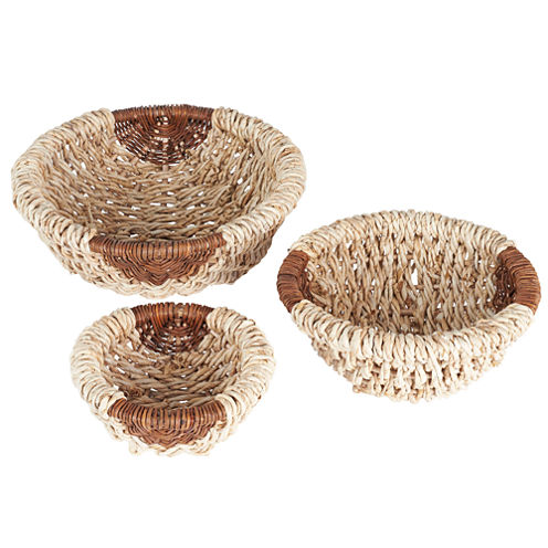Household Essentials Wicker Bowl 3-pc. Storage Bin