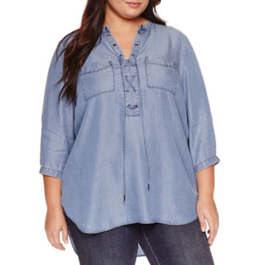 jcpenney.com | a.n.a Long Sleeve V Neck Crepe Blouse-Plus