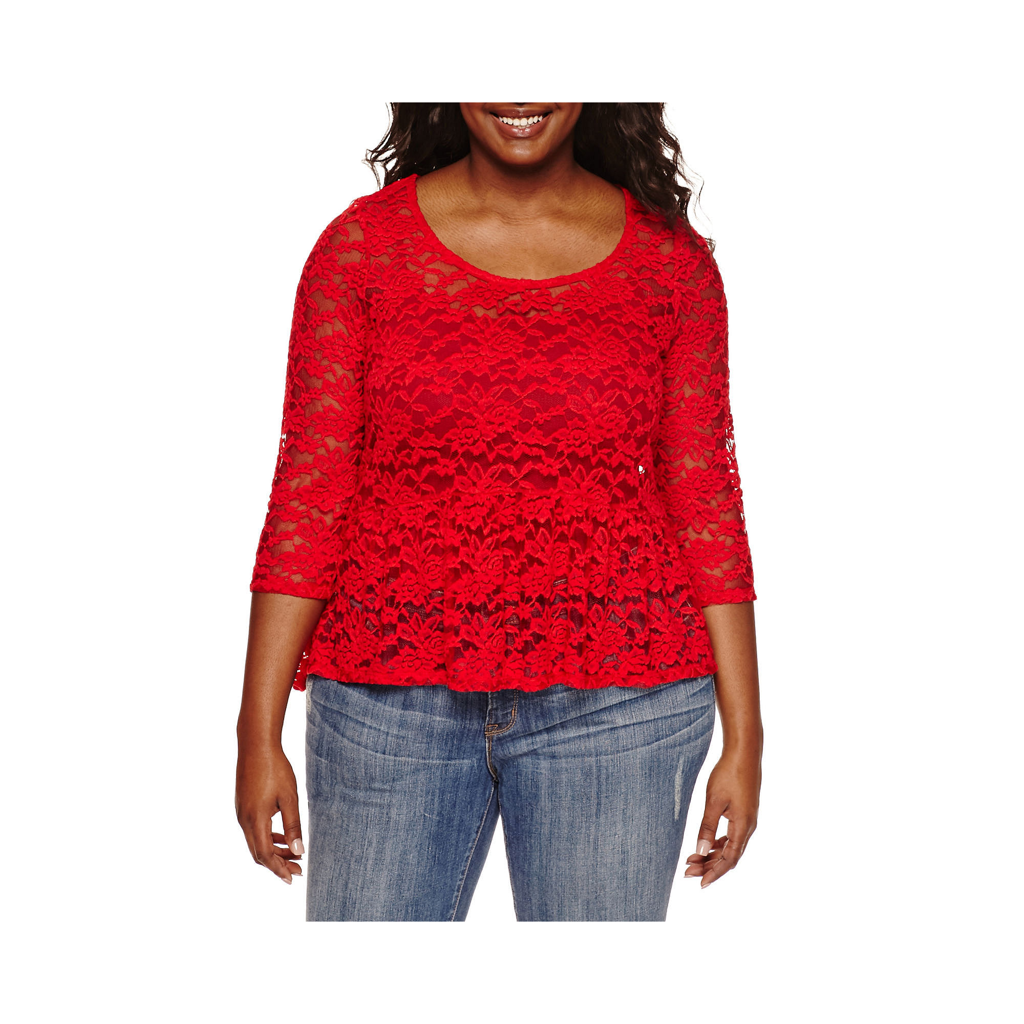 Decree 3/4-Sleeve Lace Peplum Top - Juniors Plus plus size,  plus size fashion plus size appare