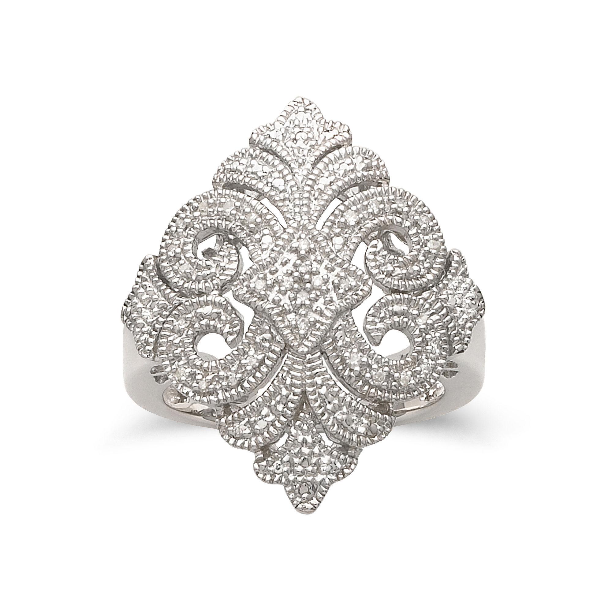 Vintage Inspirations™ Sterling Silver 1/10 CT. T.W. Diamond Ring plus size,  plus size fashion plus size appare
