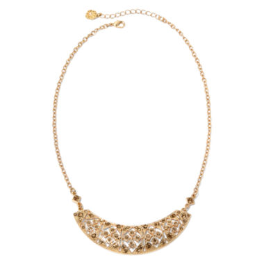 jcpenney.com | Monet® Brown Crystal Gold-Tone Collar Necklace