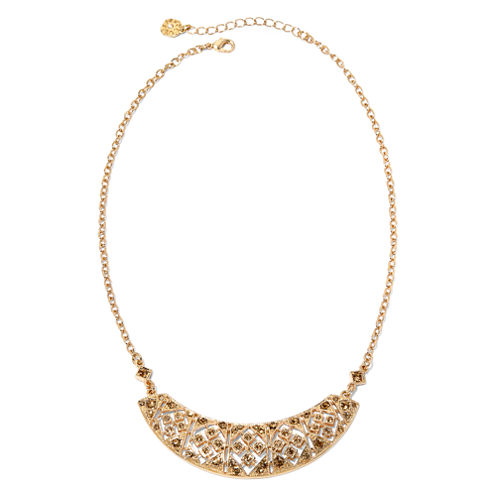 Monet® Brown Crystal Gold-Tone Collar Necklace