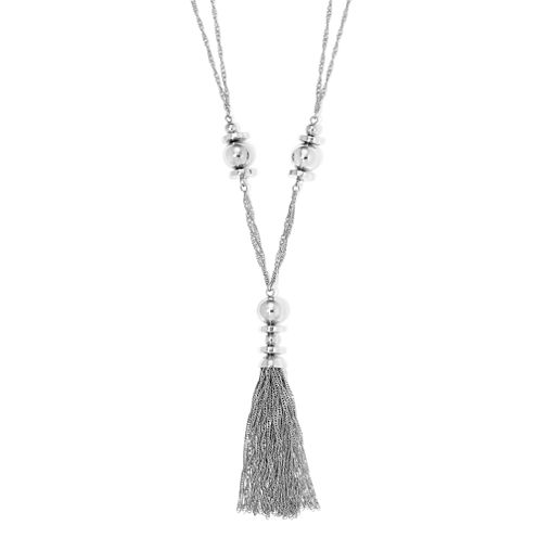 Liz Claiborne® Silver-Tone Beaded Tassel Necklace