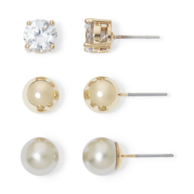 jcpenney.com | Monet® Simulated Pearl and Crystal Gold-Tone 3 pr. Stud Earring Set