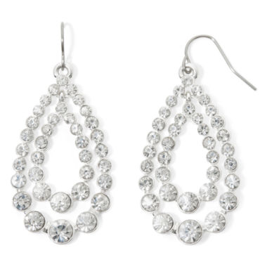 jcpenney.com | Monet® Crystal Silver-Tone Double Drop Hoop Earrings