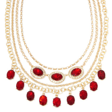 jcpenney.com | Monet® Red and Clear Crystal Layered Necklace