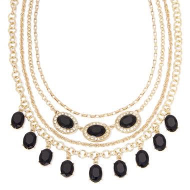 jcpenney.com | Monet® Black and Clear Crystal Layered Necklace